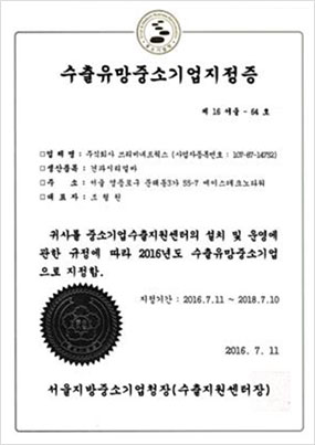 Certification of Most Promising Small Company in Exports